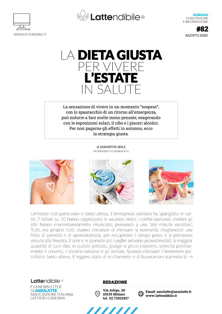 News Nutrizione E Salute La Dieta Giusta Per Una Estate In Salute Il Numero Estivo De Lattendibile Assolatte